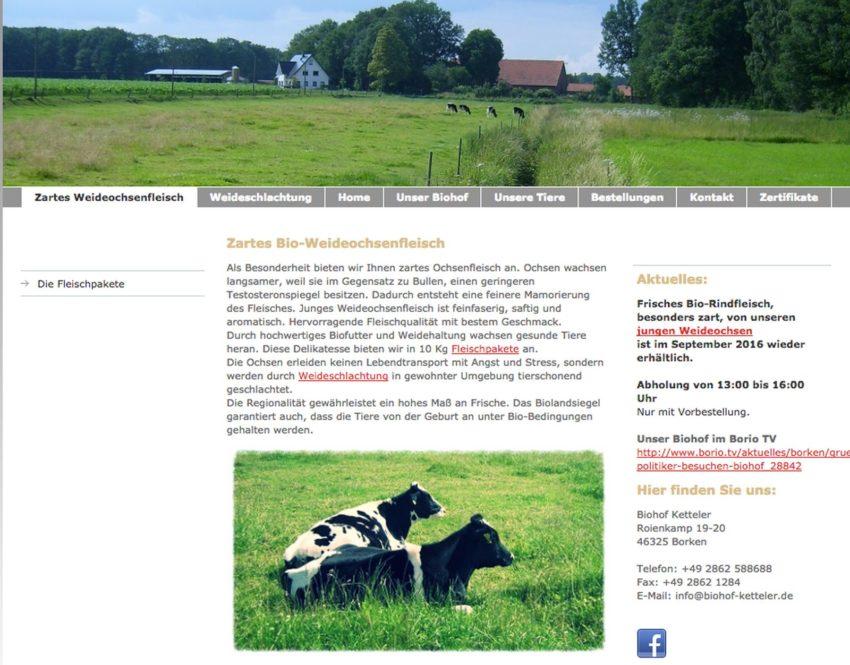 Bio Rindfleisch Biohof Ketteler Borken
