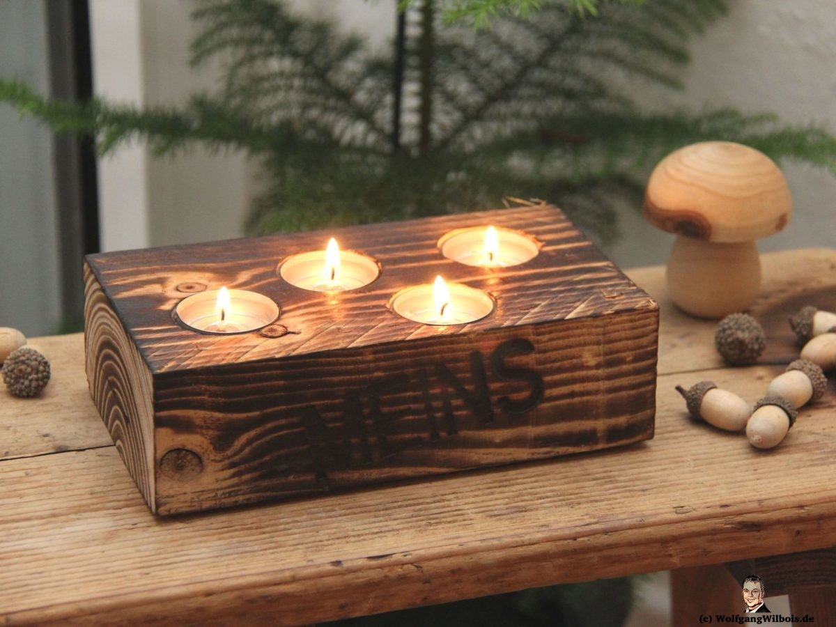 Teelichthalter Holz Advent MEINSmanufaktur