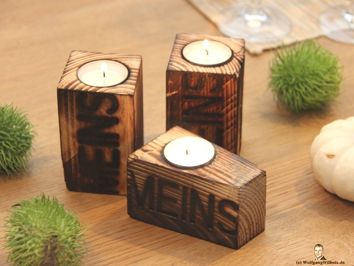 Teelichthalter Holz einzelne MEINSmanufaktur