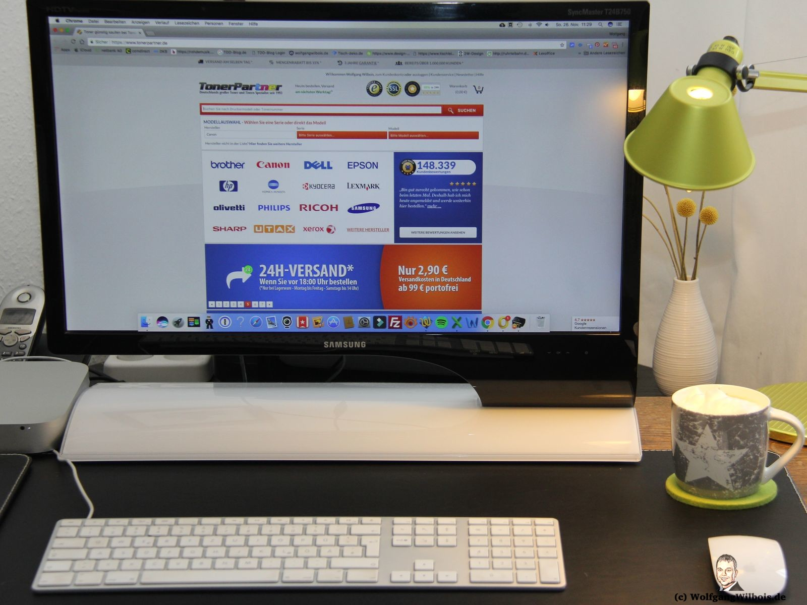 Mein Arbeitsplatz mit Webseite Tonerpartner.de