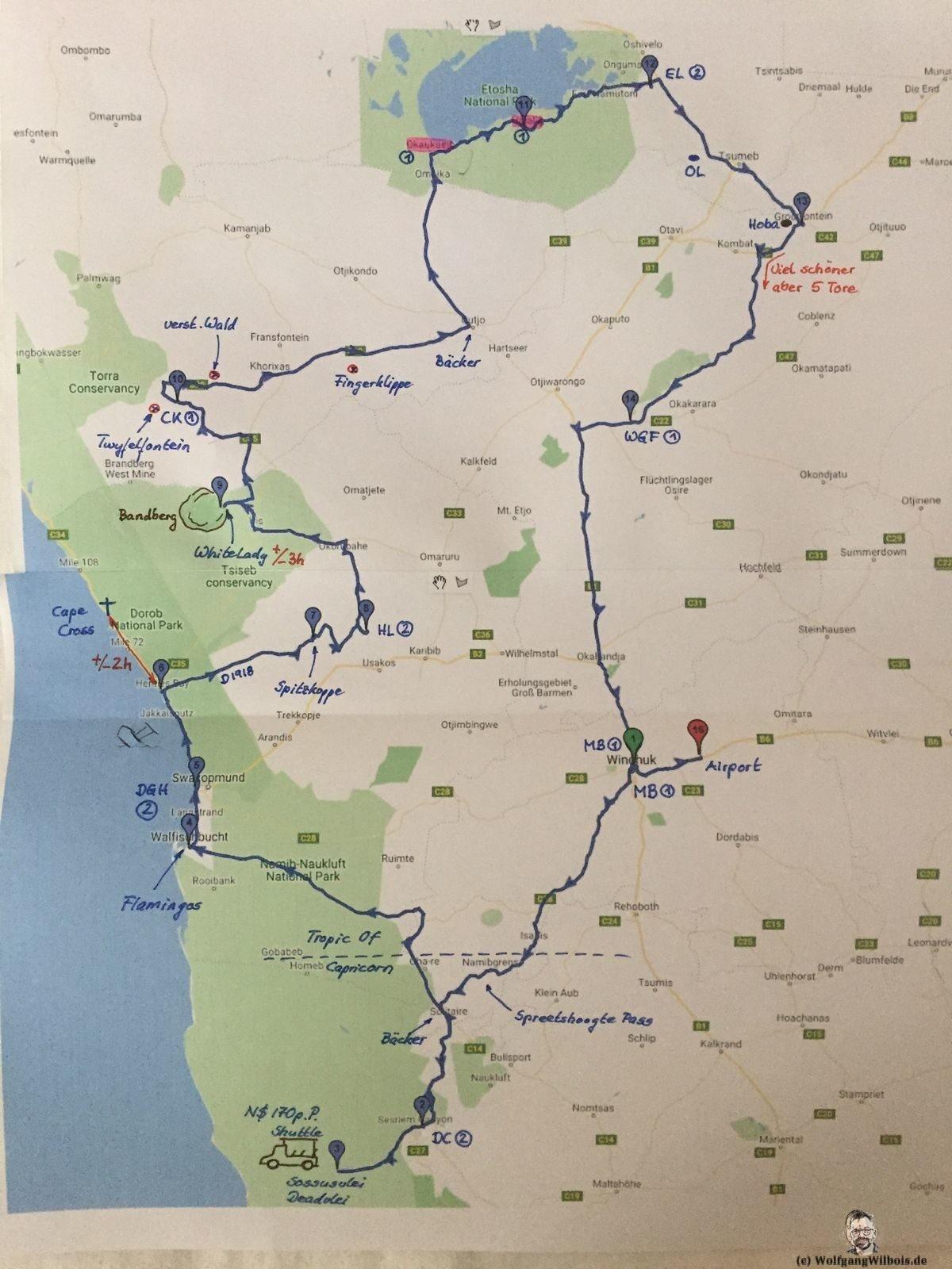 Karte Namibia Selbstfahrer Rundreise